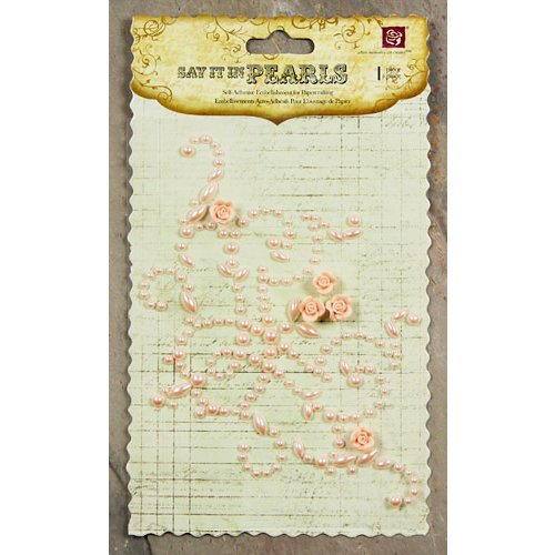 Prima - Say It In Pearls Collection - Self Adhesive Jewel Art - Bling - Flourish Corner with Roses - Pink, CLEARANCE