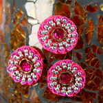 Prima - Dynasty Collection - Bling - Flower Center Embellishments - Dark Pink
