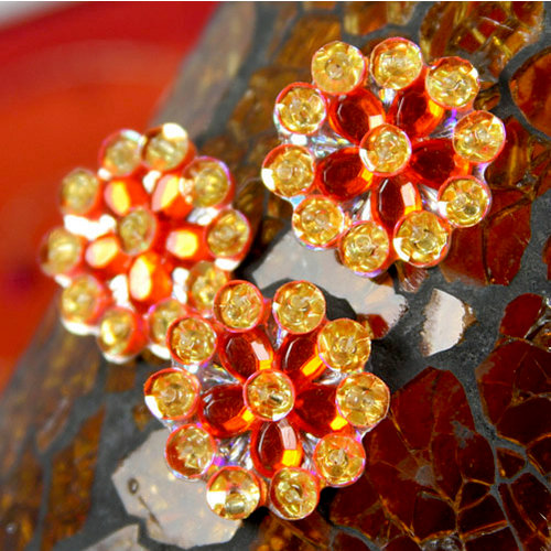 Prima - Monarch Collection - Bling - Flower Center Embellishments - Flame, CLEARANCE