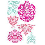 Prima - Clear Acrylic Stamps and Self Adhesive Jewels - Iron Works, CLEARANCE