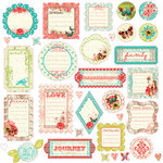 Prima - Strawberry Kisses Collection - Self Adhesive Glittered Chipboard Pieces - Journaling