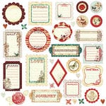 Prima - Pastiche Collection - Self Adhesive Glittered Chipboard Pieces - Journaling, CLEARANCE