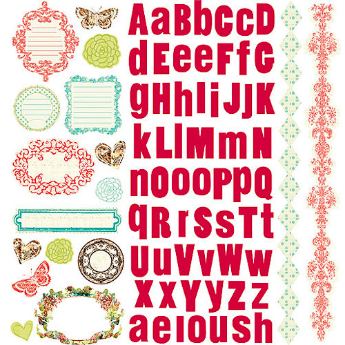 Prima - Strawberry Kisses Collection - 12 x 12 Glittered Cardstock Stickers