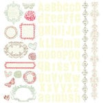 Prima - Shabby Chic Collection - 12 x 12 Glittered Cardstock Stickers, CLEARANCE