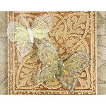 Prima - Butterflies Collection - Sheer Fabric Butterflies with Metal Clip - Cream, CLEARANCE