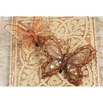 Prima - Butterflies Collection - Sheer Fabric Butterflies with Metal Clip - Brown, CLEARANCE