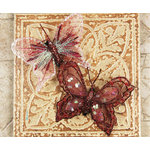 Prima - Butterflies Collection - Sheer Fabric Butterflies with Metal Clip - Burgundy, CLEARANCE