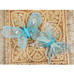 Prima - Butterflies Collection - Sheer Fabric Butterflies with Metal Clip - Light Blue, CLEARANCE