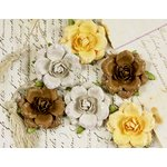 Prima - Tea Rose Collection - Mulberry Flower Embellishments - Quarry, CLEARANCE