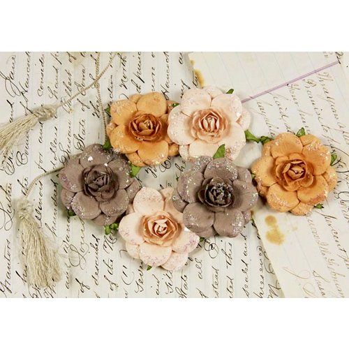 Prima - Tea Rose Collection - Mulberry Flower Embellishments - Latte, CLEARANCE