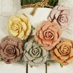 Prima - Winter Rose Collection - Flower Embellishments - Marble Ice
