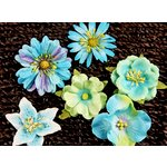 Prima - Melange Collection - Flower Embellishments - Lagoon, CLEARANCE