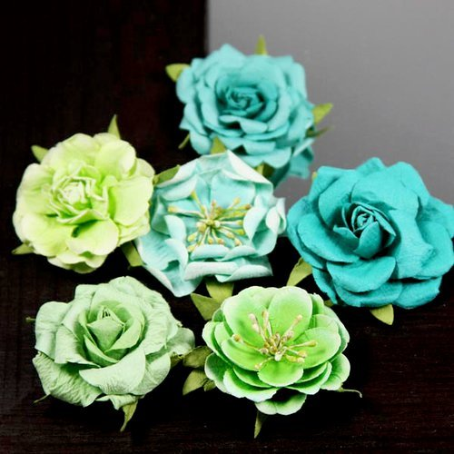 Prima - Lilliput Rose Collection - Flower Embellishments - Lime Cooler, CLEARANCE