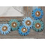Prima - Petite Mums Collection - Flower Embellishments - Peacock, CLEARANCE
