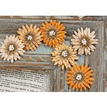 Prima - Petite Mums Collection - Flower Embellishments - Iced Copper, CLEARANCE
