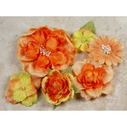 Prima - Symphony Blend - Flower Embellishments - Allegro Orange, CLEARANCE