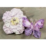 Prima - Andorra Collection - Jeweled Butterfly and Flower Embellishments - Lavender, CLEARANCE