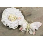 Prima - Andorra Collection - Jeweled Butterfly and Flower Embellishments - White, CLEARANCE