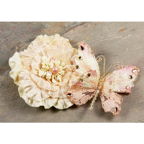 Prima - Andorra Collection - Jeweled Butterfly and Flower Embellishments - Light Peach