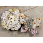 Prima - Andorra Collection - Jeweled Butterfly and Flower Embellishments - Gray, CLEARANCE