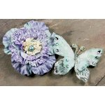 Prima - Andorra Collection - Jeweled Butterfly and Flower Embellishments - Blue, CLEARANCE