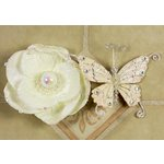 Prima - Andorra Collection - Jeweled Butterfly and Flower Embellishments - White Pearl, CLEARANCE