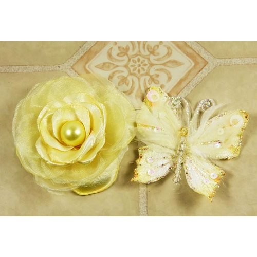 Prima - Andorra Collection - Glittered Butterfly and Flower Embellishments - Lemon Ice, CLEARANCE
