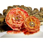 Prima - Grand Dame Collection - Fabric Flower Embellishments - Cognac, CLEARANCE