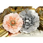 Prima - Grand Dame Collection - Fabric Flower Embellishments - Sterling, CLEARANCE