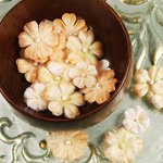 Prima - Pearl Penache Collection - Fabric Flower Embellishments - Gold Dust, CLEARANCE