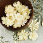 Prima - Pearl Penache Collection - Fabric Flower Embellishments - Candle Glow, CLEARANCE