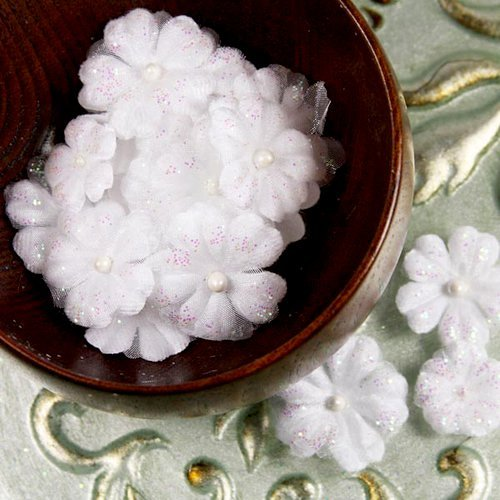 Prima - Pearl Penache Collection - Fabric Flower Embellishments - Ice Castle, CLEARANCE