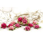 Prima - Fairytale Roses Collection - Miniature Mulberry Flower Embellishments - Orchid