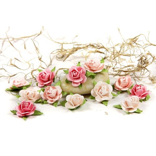 Prima - Fairytale Roses Collection - Miniature Mulberry Flower Embellishments - Baby Pink