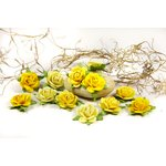 Prima - Fairytale Roses Collection - Miniature Mulberry Flower Embellishments - Buttercup
