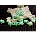 Prima - Cameo Roses Collection - Miniature Mulberry Flower Embellishments - Aqua, CLEARANCE