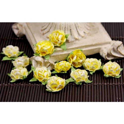 Prima - Cameo Roses Collection - Miniature Mulberry Flower Embellishments - Sunshine, CLEARANCE
