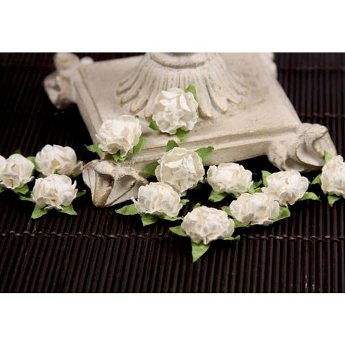 Prima - Cameo Roses Collection - Miniature Mulberry Flower Embellishments - White