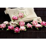 Prima - Cameo Roses Collection - Miniature Mulberry Flower Embellishments - Azalea