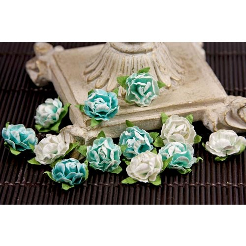 Prima - Cameo Roses Collection - Miniature Mulberry Flower Embellishments - Turquoise, CLEARANCE