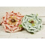Prima - Fiesta Collection - Layered Paper Flower Embellishments - Coral Sea, CLEARANCE