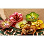 Prima - Cloissone Collection - Lacquer Style Flower Embellishments - Bronze, CLEARANCE