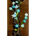 Prima - Songbird Vine Collection - Bird and Flower Embellishments - Blue, CLEARANCE