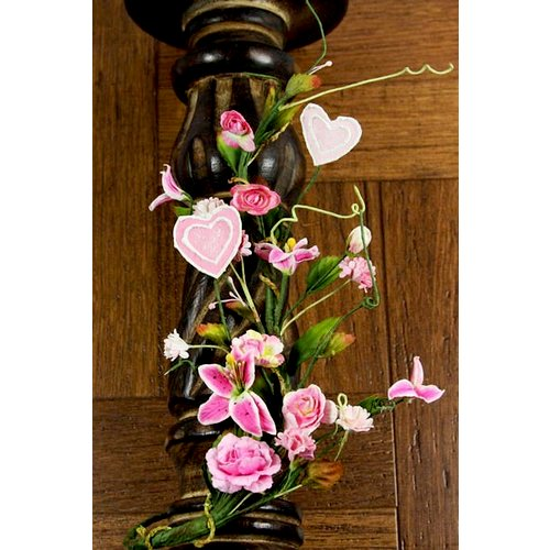 Prima - Valentine Vine Collection - Heart and Flower Embellishments - Pink, CLEARANCE