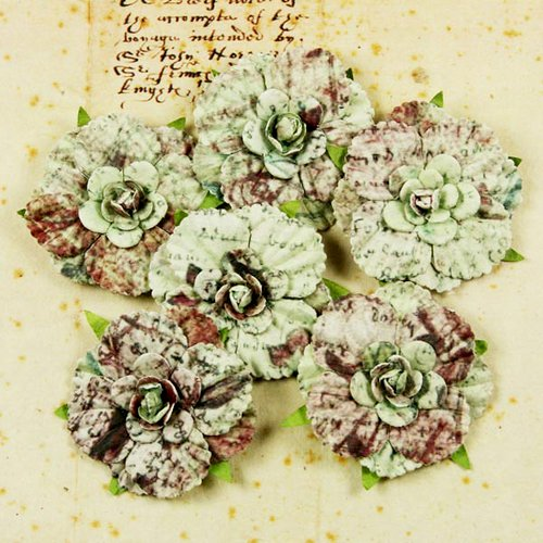 Prima - Belle Arte Collection - Mulberry Flower Embellishments - Script, CLEARANCE