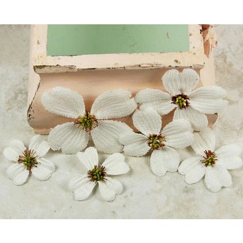 Prima - Calcutta Dogwood Collection - Fabric Flower Embellishments - Bright White, CLEARANCE