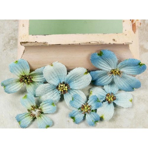 Prima - Calcutta Dogwood Collection - Fabric Flower Embellishments - Robinegg Blue, CLEARANCE
