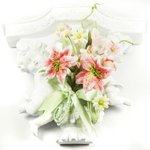 Prima - Debutantes Collection - Miniature Fabric Flower Bouquet - Blush, CLEARANCE