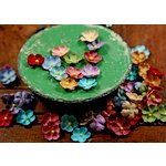 Prima - Tiny Tots Collection - Miniature Mulberry Flower Embellishments - Brownie Mix, CLEARANCE