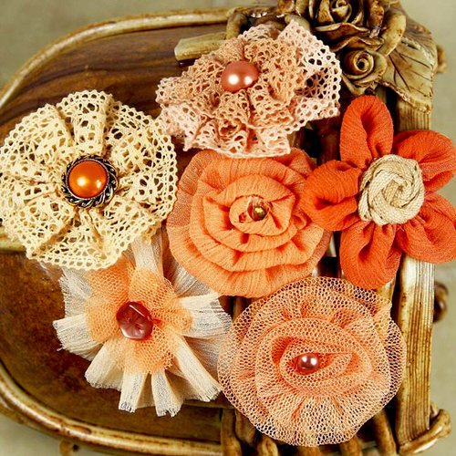 Prima - Madrigal Blossom Collection - Fabric Flower Embellishments - Peach Harmony